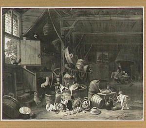 Boereninterieur met rechts in de achtergrond twee mannen aan een klein tafeltje