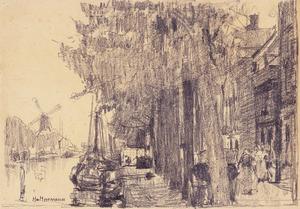 Voorhaven in Delfshaven met in het verschiet korenmolen 'De Distileerketel'