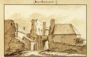 De vervallen poort van kasteel Brederode, vanuit het westen