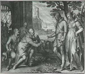 Allegorische voorstelling uit de serie 'De Onderwerping en Bevrijding der Nederlanden': twee mannen overhandigen stadssleutels aan Belgica en aan prins Maurits