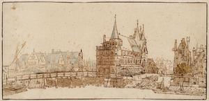 Gezicht vanaf de Oude Turfmarkt in Amsterdam op de Regulierspoort