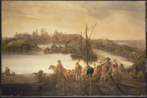 Landschap met soldaten, die verdedigingswerken aanleggen, op de voorgrond drinkende soldaten