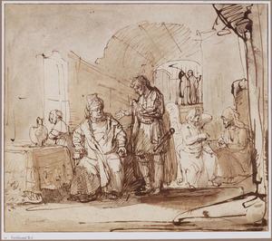 Tobias en de engel in het huis van Raguel
