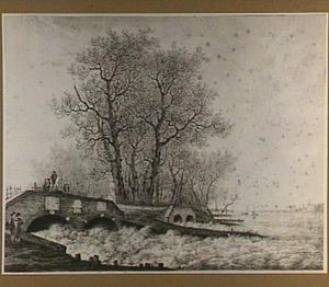 Gezicht op de sluizen van de Over- en Nederwaard bij Elshout, gezien vanaf de Lekzijde, tijdens de overstromingen van januari 1809