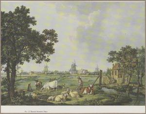 Gezicht bij Leiden buiten de Koepoort; op de achtergrond molens bij Cronestein en Lammeschans