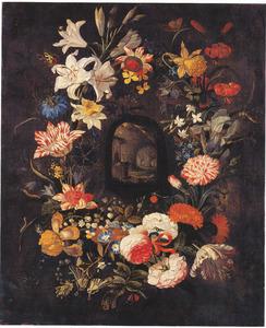 Bloemenkrans met voorstelling van grot