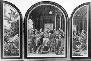 Christus in de Hof van Olijven (links), Laatste Avondmaal (midden), de voetwassing (rechts)
