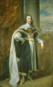 Portret van Karel I van Engeland (1600-1649), met de eretekens behorend bij de Orde van de Kousenband