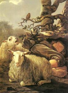 Slapende herder en twee schapen
