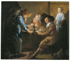 Kaartspelend gezelschap in een interieur, bij kaarslicht