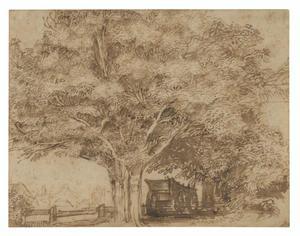 Een hooiwagen onder bomen en boerderijen
