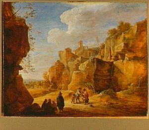 Berglandschap met zigeuners en een waarzegster