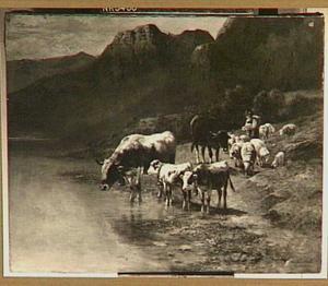 Herderin met kudde bij een bergmeer