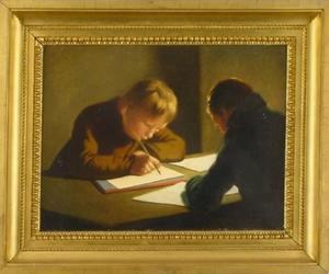 Dubbelportret van Binne (1806-1830) en Haye (1807-1890) van der Kooi tekenend