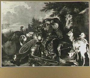 Dierstuk met bepakte ezel, trommel en kuras