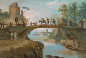 Landschap met wandelaars over oude boogbrug