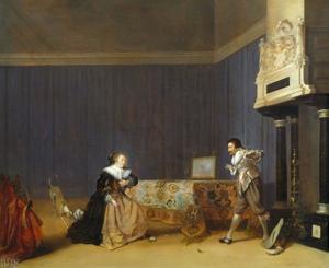 Interieur met een jonge vrouw die een dolk op zichzelf richt en een man