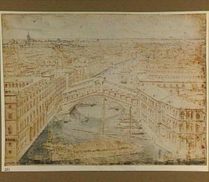 De Canal Grande in Venetië met de Rialto-brug, op de voorgrond een galei