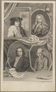 Portretten van Abraham Rademaker (1676-1735), Mattheus Brouerius van Nidek (1677-1742), Isaac le Long (1683-1772) en Jan Hendrik Reisig (1749-1794)