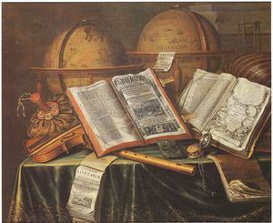 Vanitasstilleven met boeken, muziekinstrumenten en twee globes