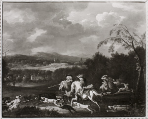 Jagers jagen op een everzwijn en een hert