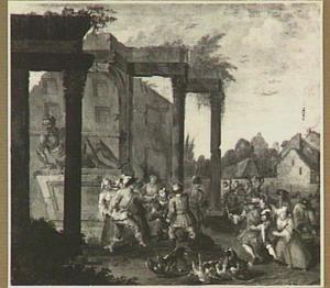 Gevecht tussen soldaten en vrouwen bij een klassieke ruïne