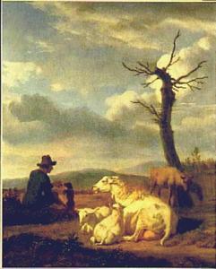 Landschap met schapen en herder