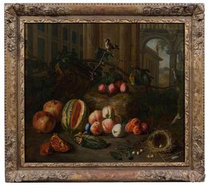 Stilleven met fruit en een vogelnestje