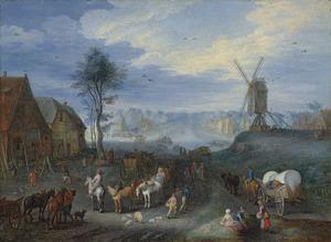 Dorpsgezicht met een windmolen en paarden met wagens