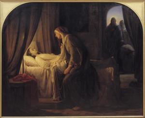 Christus betreed het het huis, waar de dochter van Jairus dood ter neer ligt (Marcus 5:2; Lucas8:41)