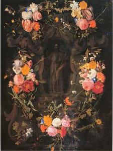 Gebeeldhouwde cartouche versierd met bloemen met een voorstelling van Sint Franciscus-Xaverius