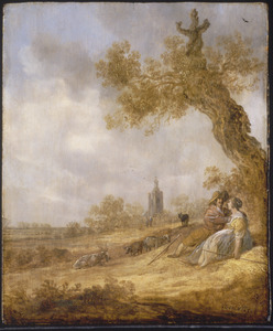 Landschap met kozend herderspaar onder een kale eik; op de achtergrond een kerktoren (Den Haag?)