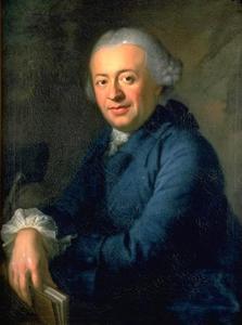 Portret van de Zwitserse kunstenaar en schrijver Salomon Gessner op 35-jarige leeftijd