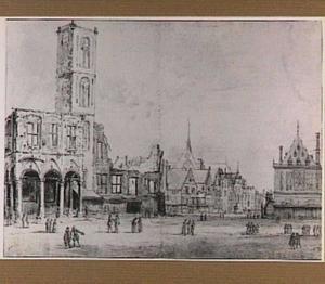 Amsterdam, de Dam met het oude stadhuis na de brand van 1652