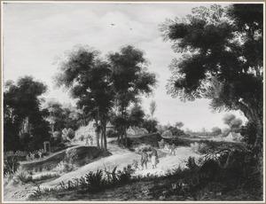 Bebost landschap met boeren onderweg