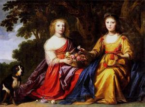 Dubbelportret van Maria Magdalena (1622-1647) en Elisabeth Charlotte (1626-1694) van Nassau-Siegen
