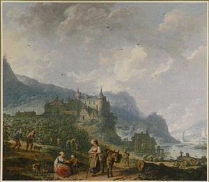 Bergachtig rivierlandschap met druivenoogst bij kasteel (allegorie van de Herfst?)