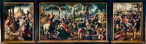Het bezoek van de Koninging van Sheba (binnenzijde linkerluik), de Kruisiging (middenpaneel), de vinding van het ware kruis (binnenzijde rechterluik); Keizers Heraclius en Constantijn (buitenzijde luik), HH. Jacobus Maior en Jacobus Minor (buitenzijde luik)