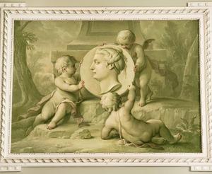 Drie putti rond medaillon met vrouwenkop
