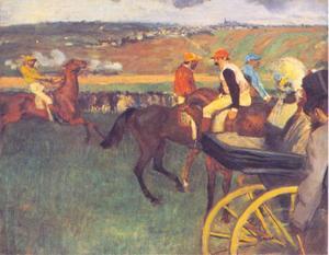 Amateur-jockeys op de renbaan dichtbij een koets
