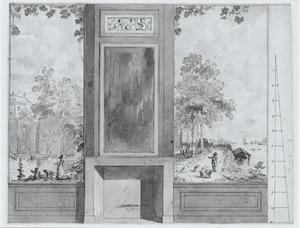 Ontwerp van een behangsel met twee landschappen ter weerszijden van een deur