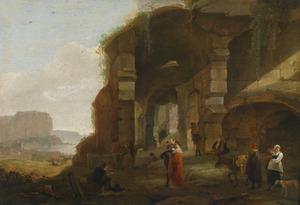 Italianiserend landschap met figuren bij een ruïne aan de kust