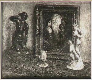 stilleven met sculptuur en schilderij