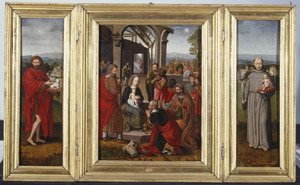 Drieluik met de aanbidding der koningen, geflankeerd door de H. Johannes de Doper  (links) en de H. Antonius van Padua (rechts)