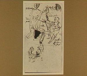 Zes figuurstudies, onder andere twee zittende vrouwen