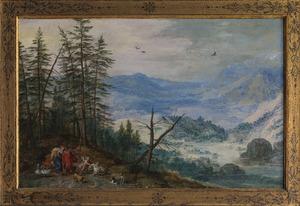 Berglandschap met Venus, Adonis en Cupido