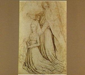 Knielende stichtster met de Heilige Michael de duivel doorstekend