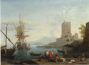 Napolitaans kustgezicht met een Hollands oorlogsschip en vissers in een haven