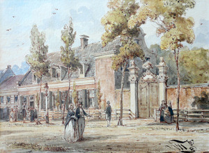 De eerste toegangspoort van Artis, tussen de Nieuwe Prinsengracht en de Middenlaan.