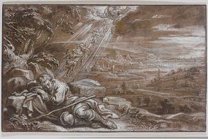 De droom van Jacob: engel dalen via een ladder af uit de hemel naar de aarde en omgekeerd (Genesis 28:10-22)